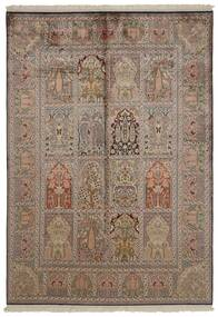 Kashmir Ren Silke Teppe 151X218 Ekte Orientalsk Håndknyttet Lys Grå/Brun/Lysbrun (Silke, India)