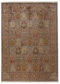 Kashmir Ren Silke Teppe 248X336 Ekte Orientalsk Håndknyttet Brun/Lys Grå (Silke, India)