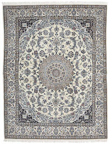 Nain 9La Teppe 200X258 Ekte Orientalsk Håndknyttet Lys Grå/Mørk Beige (Ull/Silke, Persia/Iran)