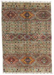 Shabargan Teppe 123X172 Ekte Moderne Håndknyttet Olivengrønn/Mørk Grå (Ull, Afghanistan)