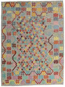 Kelim Afghan Old Style Teppe 185X245 Ekte Orientalsk Håndvevd Lys Grå/Mørk Grå (Ull, Afghanistan)