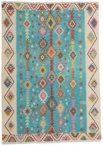 Kelim Afghan Old Style Teppe 203X283 Ekte Orientalsk Håndvevd Turkis Blå/Mørk Beige (Ull, Afghanistan)