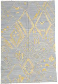 Kelim Moderne Teppe 199X292 Ekte Moderne Håndvevd Lys Grå/Mørk Beige (Ull, Afghanistan)