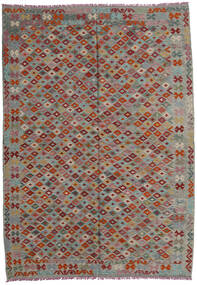 Kelim Afghan Old Style Teppe 207X293 Ekte Orientalsk Håndvevd Mørk Grå/Lys Grå/Mørk Rød (Ull, Afghanistan)