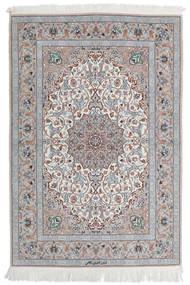 Isfahan Silkerenning Teppe 110X160 Ekte Orientalsk Håndknyttet Lys Grå/Hvit/Creme (Ull/Silke, Persia/Iran)