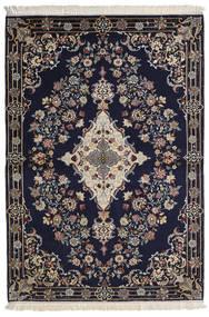 Isfahan Silkerenning Teppe 112X160 Ekte Orientalsk Håndknyttet Mørk Lilla/Lys Grå/Mørk Grå (Ull/Silke, Persia/Iran)