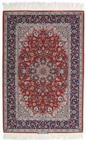 Isfahan Silkerenning Teppe 110X165 Ekte Orientalsk Håndknyttet Lys Grå/Mørk Rød (Ull/Silke, Persia/Iran)