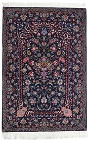 Isfahan Silkerenning Teppe 110X160 Ekte Orientalsk Håndknyttet Svart/Mørk Lilla (Ull/Silke, Persia/Iran)