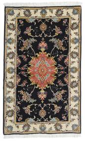 Tabriz 60 Raj Silkerenning Teppe 73X120 Ekte Orientalsk Håndknyttet Svart/Mørk Beige (Ull/Silke, Persia/Iran)
