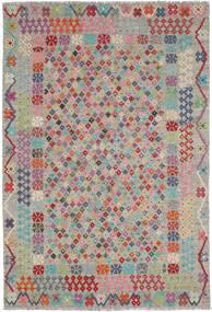 Kelim Afghan Old Style Teppe 205X297 Ekte Orientalsk Håndvevd Lys Grå/Lyserosa (Ull, Afghanistan)