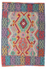 Kelim Afghan Old Style Teppe 105X147 Ekte Orientalsk Håndvevd Lys Grå/Mørk Grå (Ull, Afghanistan)