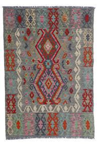 Kelim Afghan Old Style Teppe 100X143 Ekte Orientalsk Håndvevd Mørk Grå/Mørk Rød (Ull, Afghanistan)