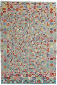 Kelim Afghan Old Style Teppe 203X295 Ekte Orientalsk Håndvevd Lys Grå/Lysbrun (Ull, Afghanistan)