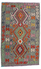 Kelim Afghan Old Style Teppe 99X160 Ekte Orientalsk Håndvevd Mørk Grå/Mørk Rød (Ull, Afghanistan)