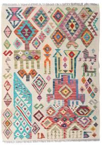 Kelim Afghan Old Style Teppe 94X129 Ekte Orientalsk Håndvevd Lys Grå/Lyserosa (Ull, Afghanistan)