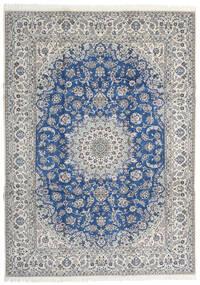 Nain 9La Teppe 253X350 Ekte Orientalsk Håndknyttet Lys Grå/Blå Stort (Ull/Silke, Persia/Iran)