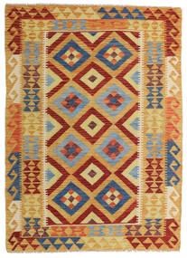 Kelim Afghan Old Style Teppe 131X180 Ekte Orientalsk Håndvevd Lysbrun/Mørk Rød (Ull, Afghanistan)