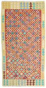 Kelim Afghan Old Style Teppe 110X208 Ekte Orientalsk Håndvevd Mørk Beige/Rust (Ull, Afghanistan)