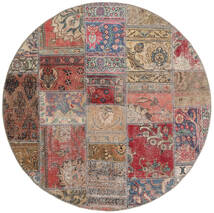 Patchwork - Persien/Iran Teppe Ø 150 Ekte Moderne Håndknyttet Rundt Brun/Lys Grå (Ull, Persia/Iran)