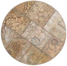 Patchwork - Persien/Iran Teppe Ø 100 Ekte Moderne Håndknyttet Rundt Lys Grå/Lysbrun (Ull, Persia/Iran)