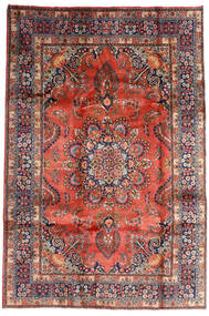 Mashad Teppe 196X290 Ekte Orientalsk Håndknyttet Mørk Rød/Mørk Lilla (Ull, Persia/Iran)
