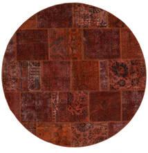 Patchwork - Persien/Iran Teppe Ø 200 Ekte Moderne Håndknyttet Rundt Mørk Brun/Mørk Rød (Ull, Persia/Iran)