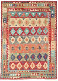 Kelim Afghan Old Style Teppe 209X295 Ekte Orientalsk Håndvevd Rust/Mørk Beige (Ull, Afghanistan)