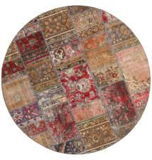 Patchwork - Persien/Iran Teppe Ø 200 Ekte Moderne Håndknyttet Rundt Brun/Mørk Rød (Ull, Persia/Iran)