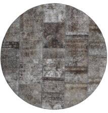 Patchwork - Persien/Iran Teppe Ø 200 Ekte Moderne Håndknyttet Rundt Mørk Grå/Lys Grå (Ull, Persia/Iran)