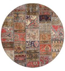 Patchwork - Persien/Iran Teppe Ø 200 Ekte Moderne Håndknyttet Rundt Mørk Rød/Lysbrun (Ull, Persia/Iran)