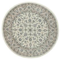 Nain 9La Teppe Ø 200 Ekte Orientalsk Håndknyttet Rundt Lys Grå/Mørk Grå (Ull/Silke, Persia/Iran)