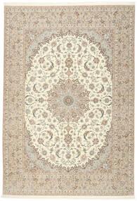 Isfahan Silkerenning Teppe 255X366 Ekte Orientalsk Håndknyttet Lys Grå/Beige Stort (Ull/Silke, Persia/Iran)