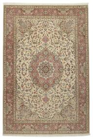 Tabriz 50 Raj Med Silke Teppe 245X360 Ekte Orientalsk Håndknyttet Lys Grå/Lysbrun (Ull/Silke, Persia/Iran)