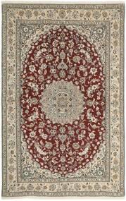 Nain 9La Teppe 160X248 Ekte Orientalsk Håndknyttet Lys Grå/Mørk Rød (Ull/Silke, Persia/Iran)