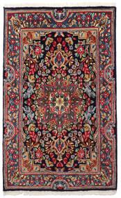 Kerman Teppe 90X149 Ekte Orientalsk Håndknyttet Mørk Grå/Mørk Blå (Ull, Persia/Iran)