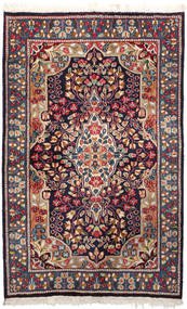 Kerman Teppe 92X147 Ekte Orientalsk Håndknyttet Mørk Lilla/Mørk Rød (Ull, Persia/Iran)