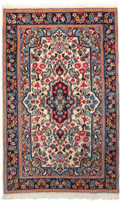 Kerman Teppe 90X150 Ekte Orientalsk Håndknyttet Mørk Rød/Beige (Ull, Persia/Iran)