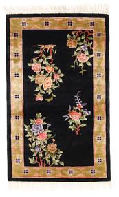Kina Art Silke 120 Line Teppe 91X152 Ekte Orientalsk Håndknyttet Svart/Beige ( Kina)