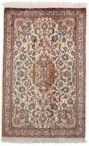Kashmir Ren Silke Teppe 64X98 Ekte Orientalsk Håndknyttet Lys Grå/Mørk Brun (Silke, India)