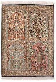 Kashmir Ren Silke Teppe 64X91 Ekte Orientalsk Håndknyttet Brun/Hvit/Creme (Silke, India)
