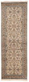 Kashmir Ren Silke Teppe 95X279 Ekte Orientalsk Håndknyttet Teppeløpere Lys Grå/Mørk Brun (Silke, India)