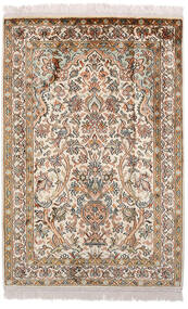 Kashmir Ren Silke Teppe 63X94 Ekte Orientalsk Håndknyttet Brun/Lys Grå (Silke, India)