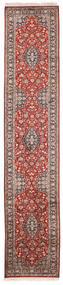 Kashmir Ren Silke Teppe 65X315 Ekte Orientalsk Håndknyttet Teppeløpere Hvit/Creme/Mørk Rød (Silke, India)