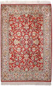 Kashmir Ren Silke Teppe 66X99 Ekte Orientalsk Håndknyttet Lys Grå/Mørk Rød (Silke, India)