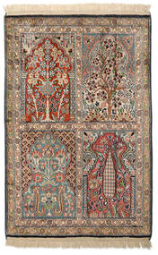 Kashmir Ren Silke Teppe 63X95 Ekte Orientalsk Håndknyttet Mørk Grå/Lysbrun/Beige (Silke, India)
