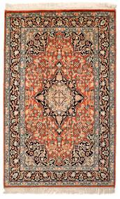 Kashmir Ren Silke Teppe 63X100 Ekte Orientalsk Håndknyttet Beige/Mørk Brun/Mørk Rød (Silke, India)