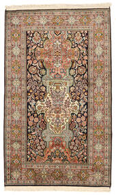Kashmir Ren Silke Teppe 96X157 Ekte Orientalsk Håndknyttet Brun/Mørk Grå (Silke, India)