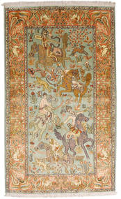 Kashmir Ren Silke Teppe 93X155 Ekte Orientalsk Håndknyttet Mørk Beige/Brun (Silke, India)