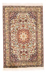 Kashmir Ren Silke Teppe 58X90 Ekte Orientalsk Håndknyttet Beige/Mørk Brun (Silke, India)