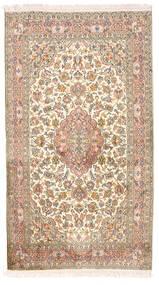 Kashmir Ren Silke Teppe 92X164 Ekte Orientalsk Håndknyttet Hvit/Creme/Mørk Brun (Silke, India)